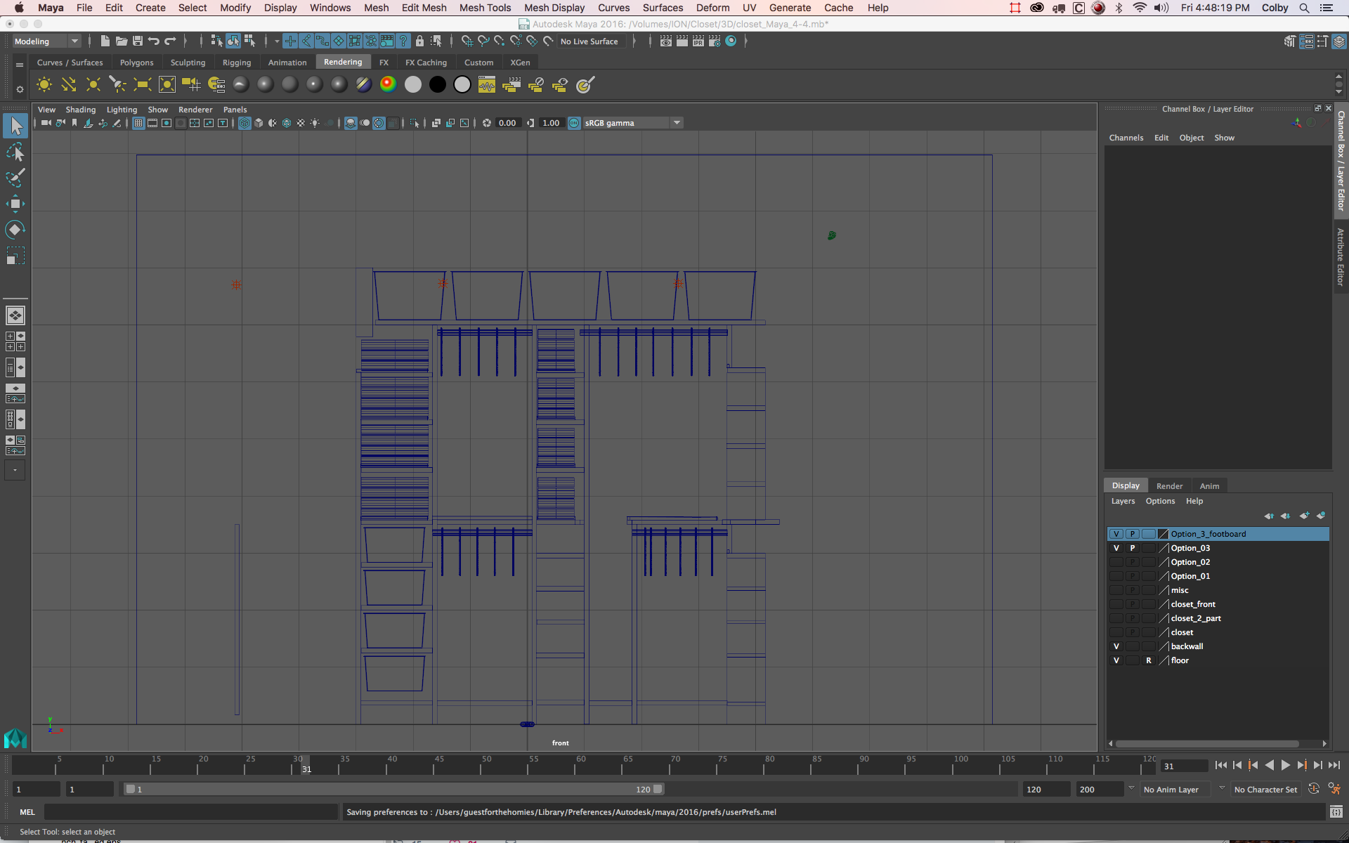 Designing the closet in Maya 3D.