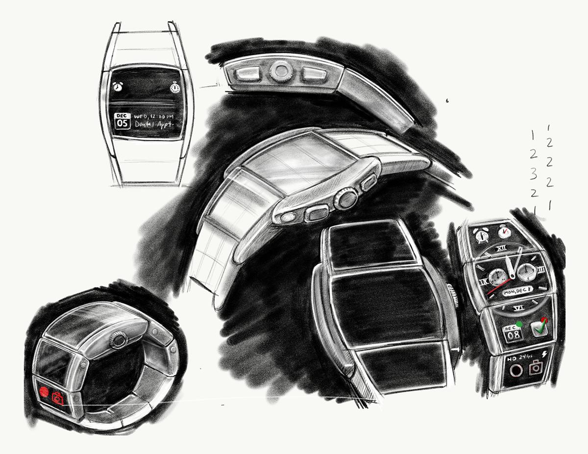 "Various studies that perfect the ""tonneau""shape of the modular smart watch."