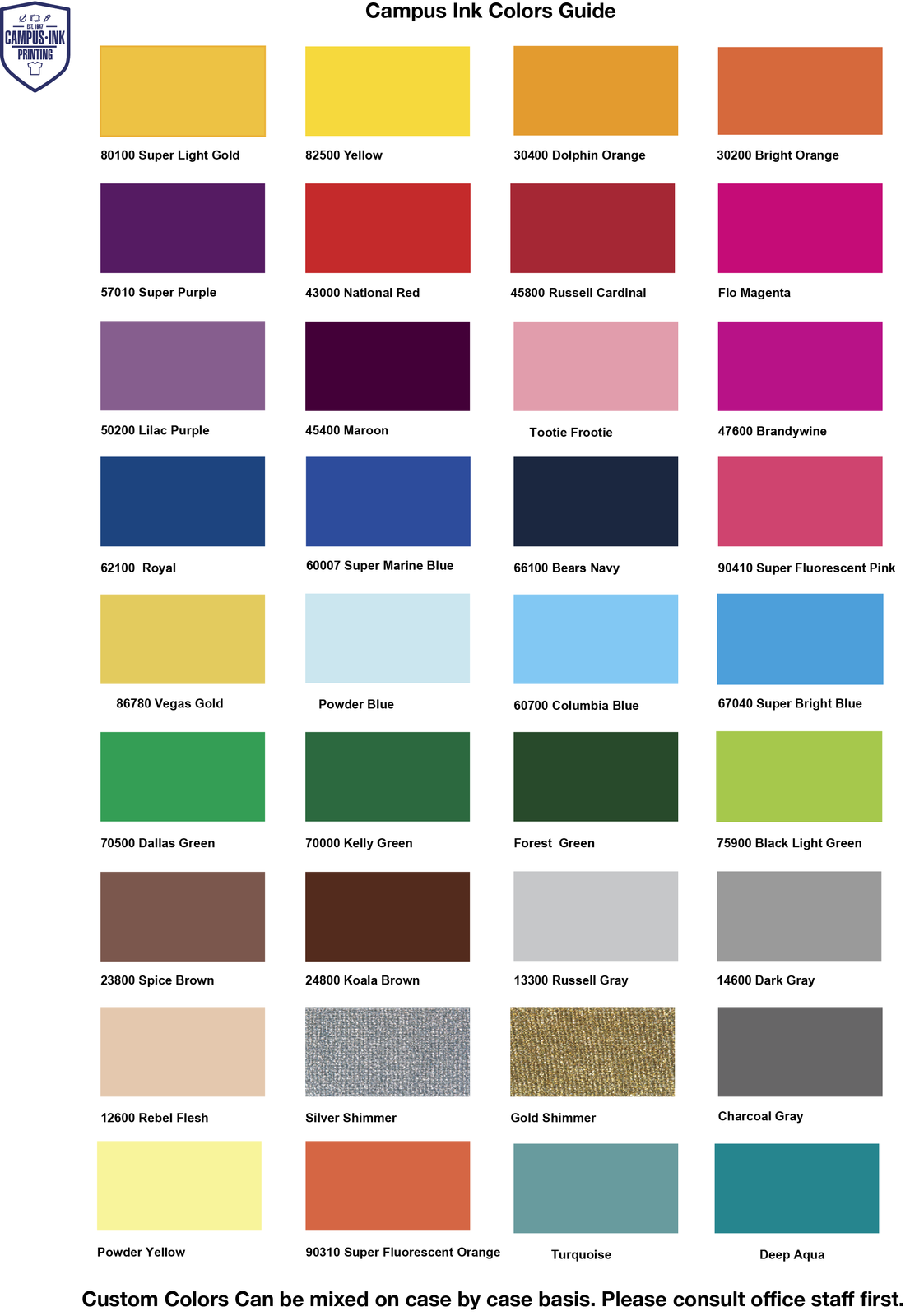 campus ink printing colors