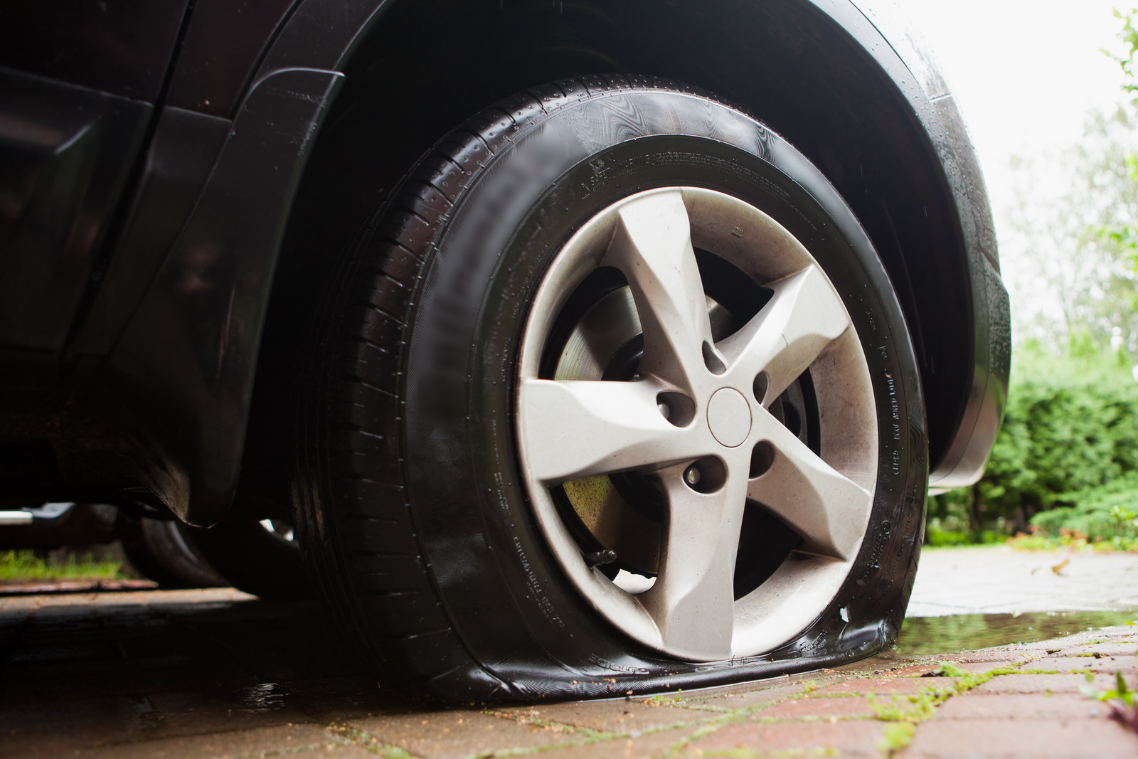 Tyre puncture due to pothole