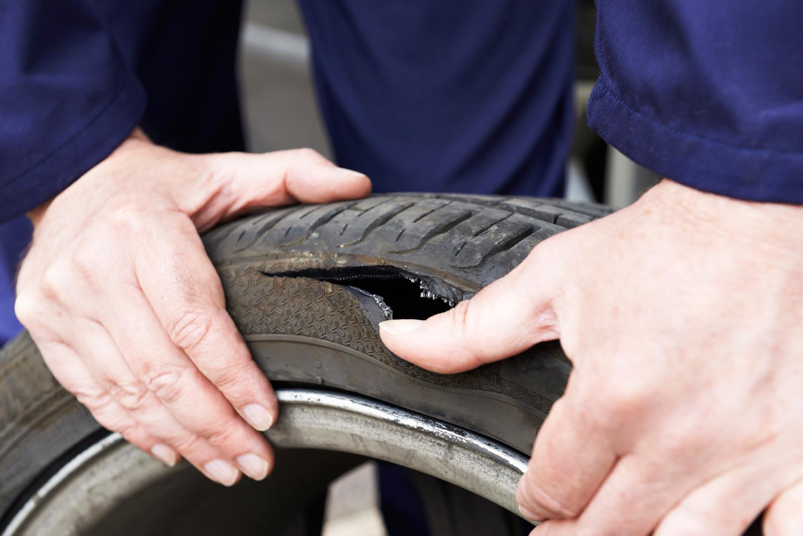 Split tyre due to pothole