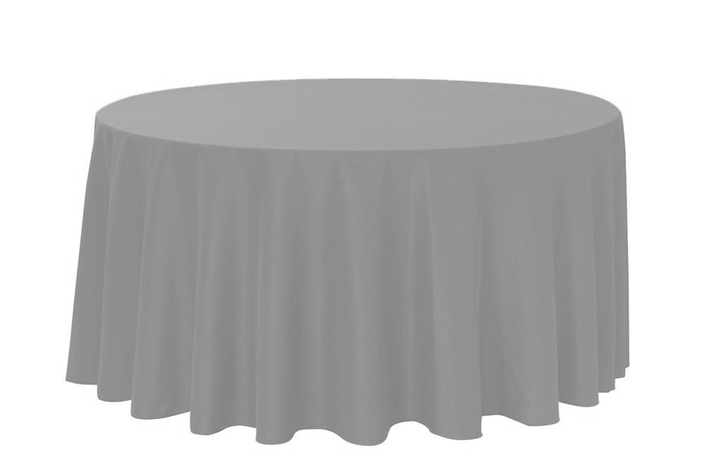 "Grey 120"" Round Polyester Tablecloth $8"