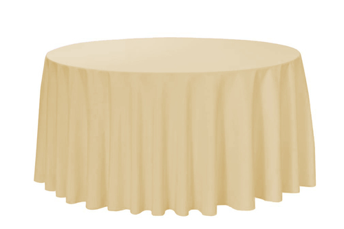 """Champagne 120"""" Round Polyester Tablecloth $8"""