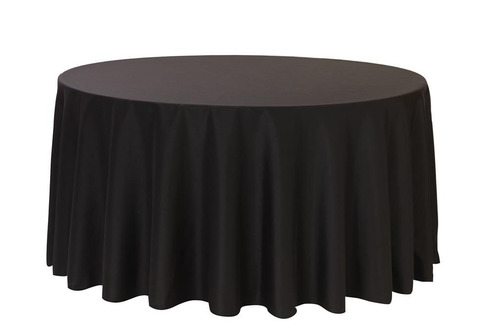 "Black 120"" Round Polyester Tablecloth $8"