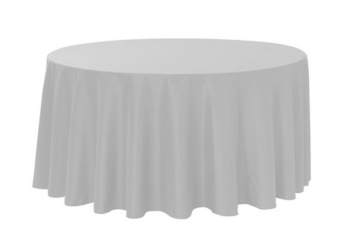 "Silver/Light Grey 120"" Round Polyester Tablecloth $8"