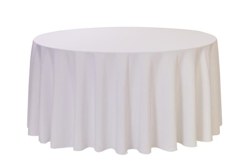 "White 120"" Round Polyester Tablecloth $8"