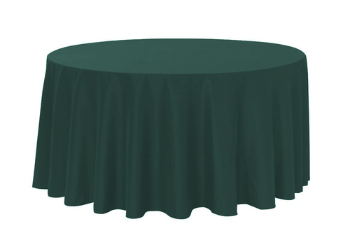"Hunter Green 120"" Round Polyester Tablecloth $8"