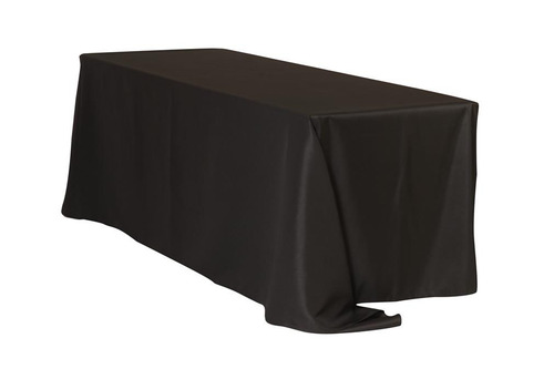 "Black 90x132"" Rectangle Polyester Tablecloth $10"