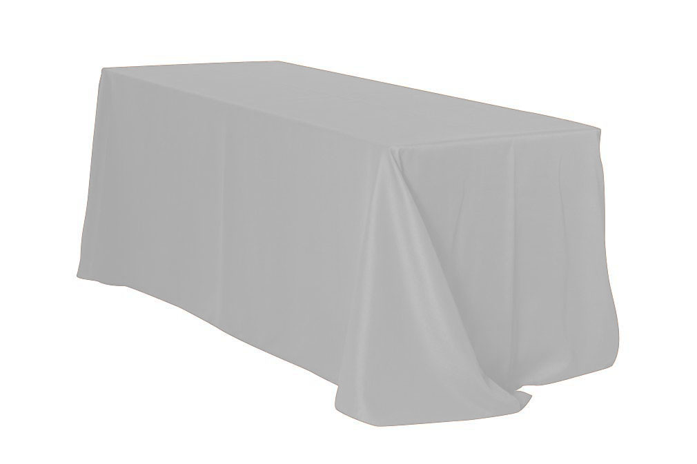 "Silver/Light Grey 90x132"" Rectangle Polyester Tablecloth $10"