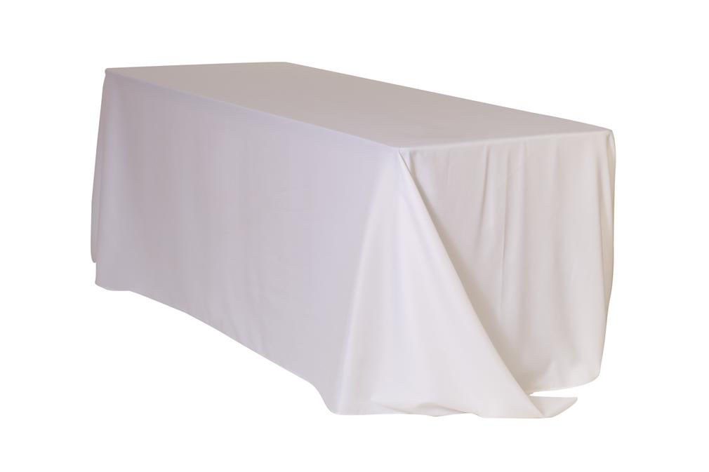 "White 90x132"" Rectangle Polyester Tablecloth $10"