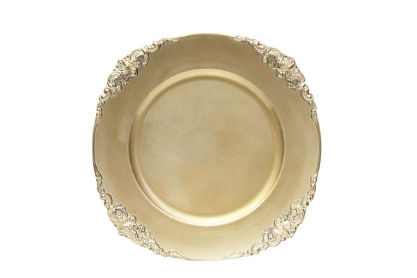 "Champagne Round Ornate 14"" Charger $1.75 each"