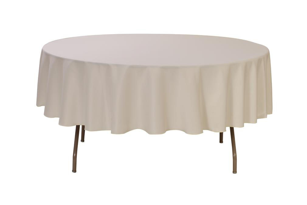 "Ivory 90"" Round Polyester Tablecloth $5"