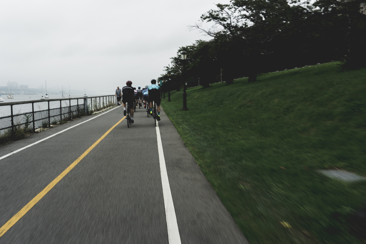 On the road - We rolled out as a group up to the George Washington Bridge. Along the we way, we stopped for a group photo