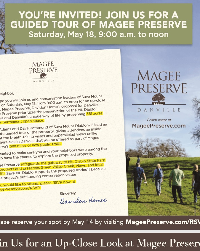 Magee Preserve and Save Mount Diablo, who strongly support the conservation values of the project, invited local neighbors to explore the proposed property. -