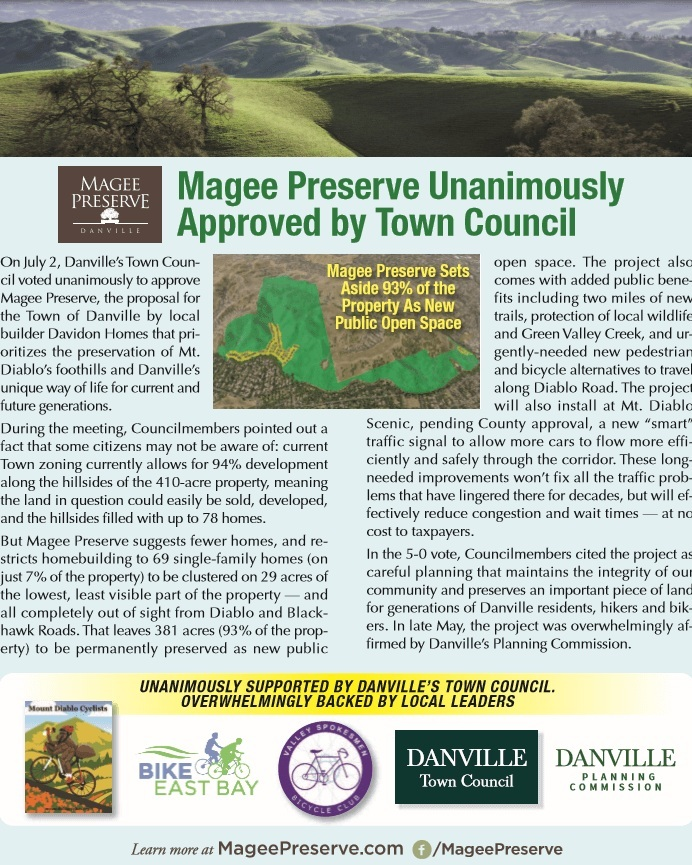 On July 2, Danville's Town Council voted unanimously to approve Magee Preserve. -