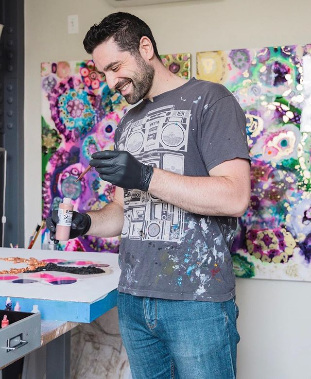 "Photo of me in studio for the recent @Society6 feature of my work on @crystalcriminals with @wokeandwired! Check it out, link in bio - awesome article with great pics!  I wear this shirt all the time and it's been my favorite art shirt for over 10 years since I made my first huge India ink spill all over myself at 4am during a late night sesh my last semester in college at my Stuytown apartment.  One of the first moments I said ""fuck it"" and embraced the ""accidents"" and now here we are! Shout out to @siguy for buying me this shirt on @threadless 13 years ago. #ericbriefart #crystalcriminals photo: @sophiesahara"