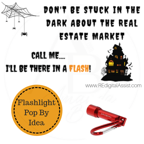 Halloween Pop By Ideas For Real Estate: Mini Flashlight with FREE printable tag www.redigitalassist.com #realestate #popby #ideas #halloween #flashlight #REdigitalassist