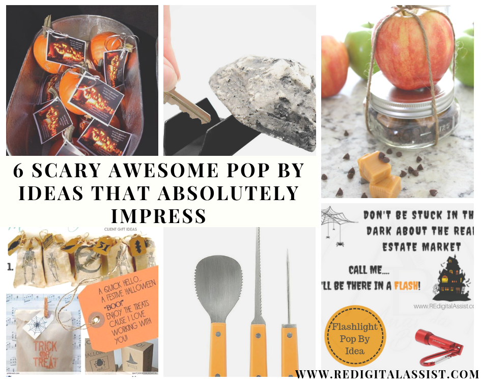 6 Awesome Halloween Pop By Ideas for October that will absolutely impress your real estate clients and referrers www.redigitalassist.com #realestate #popby #ideas #halloween #october