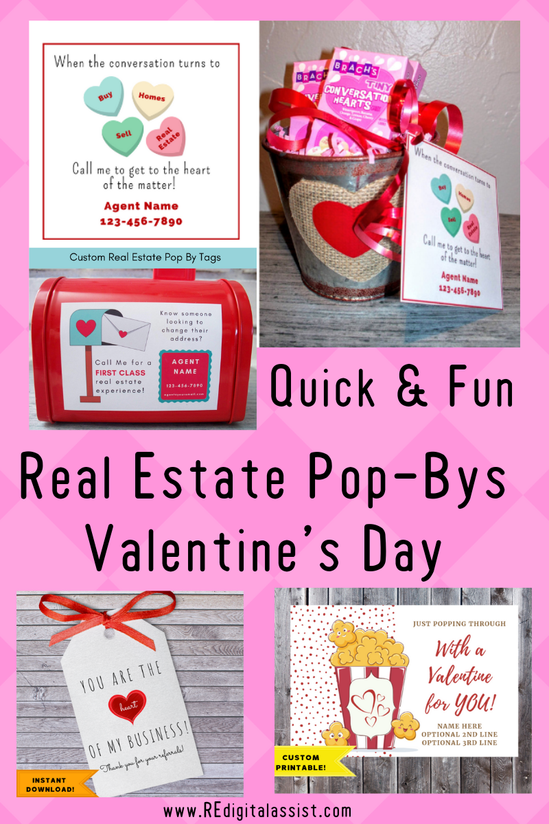 Quick & Fun Valentine's Ideas for Your February Real Estate Pop-Bys, including printable tags #REdigitalassist