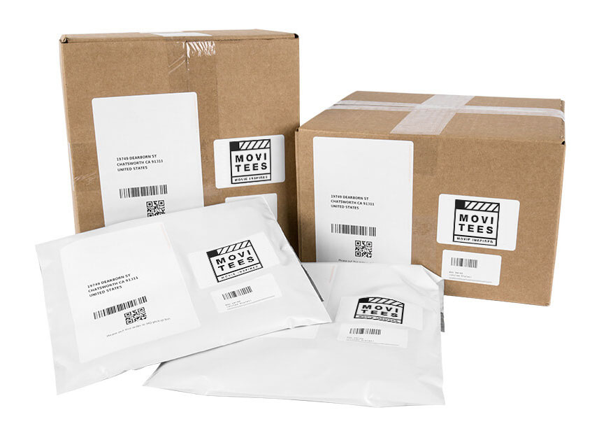 All packages are shipped in basic white poly bags, or small cardboard boxes, with the MoviTees logo.