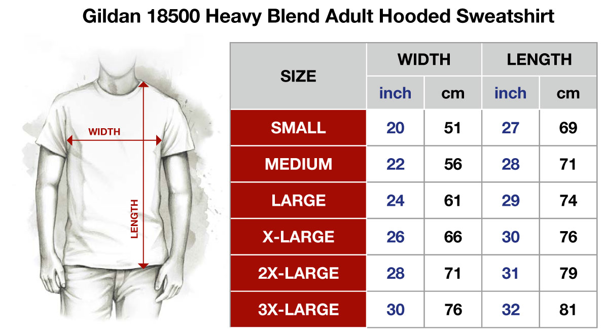 The Gildan 18500 - Hooded Sweatshirt:   The Gildan 18500 is a heavy blend adult hooded sweatshirt to keep you warm and comfortable in the cooler months.  • Preshrunk fleece knit • 8 oz. 50% Cotton/ 50% Polyester blend • Double lined hood for added warmth with colour-matched drawcord • Pouch pocket for extra carry • Double needle cuffs and waistband for extra durability • Softer feel and reduced pilling