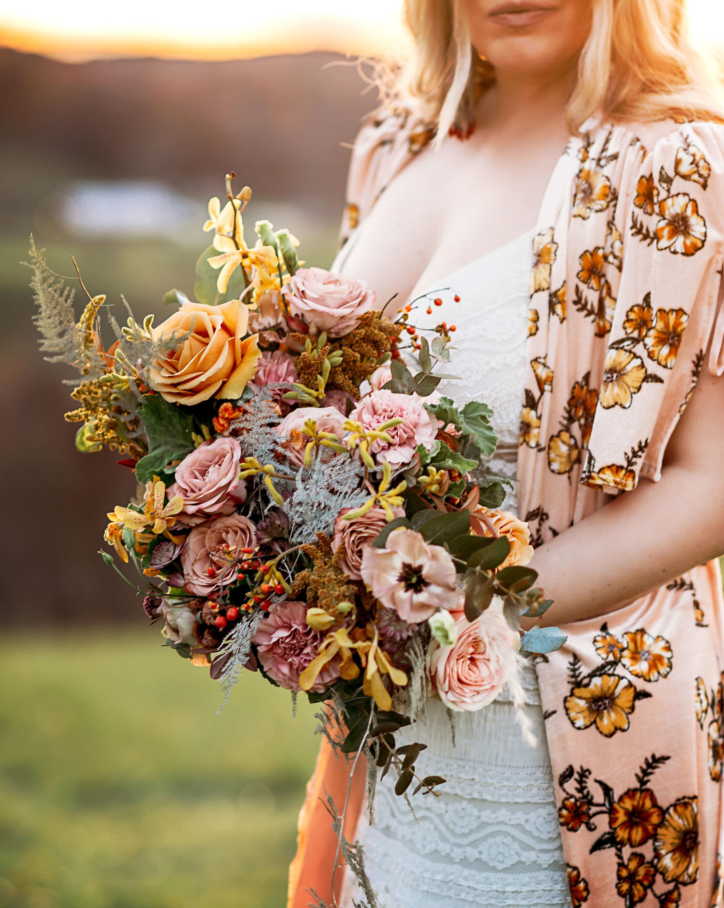 blush and mustard bohemian wedding