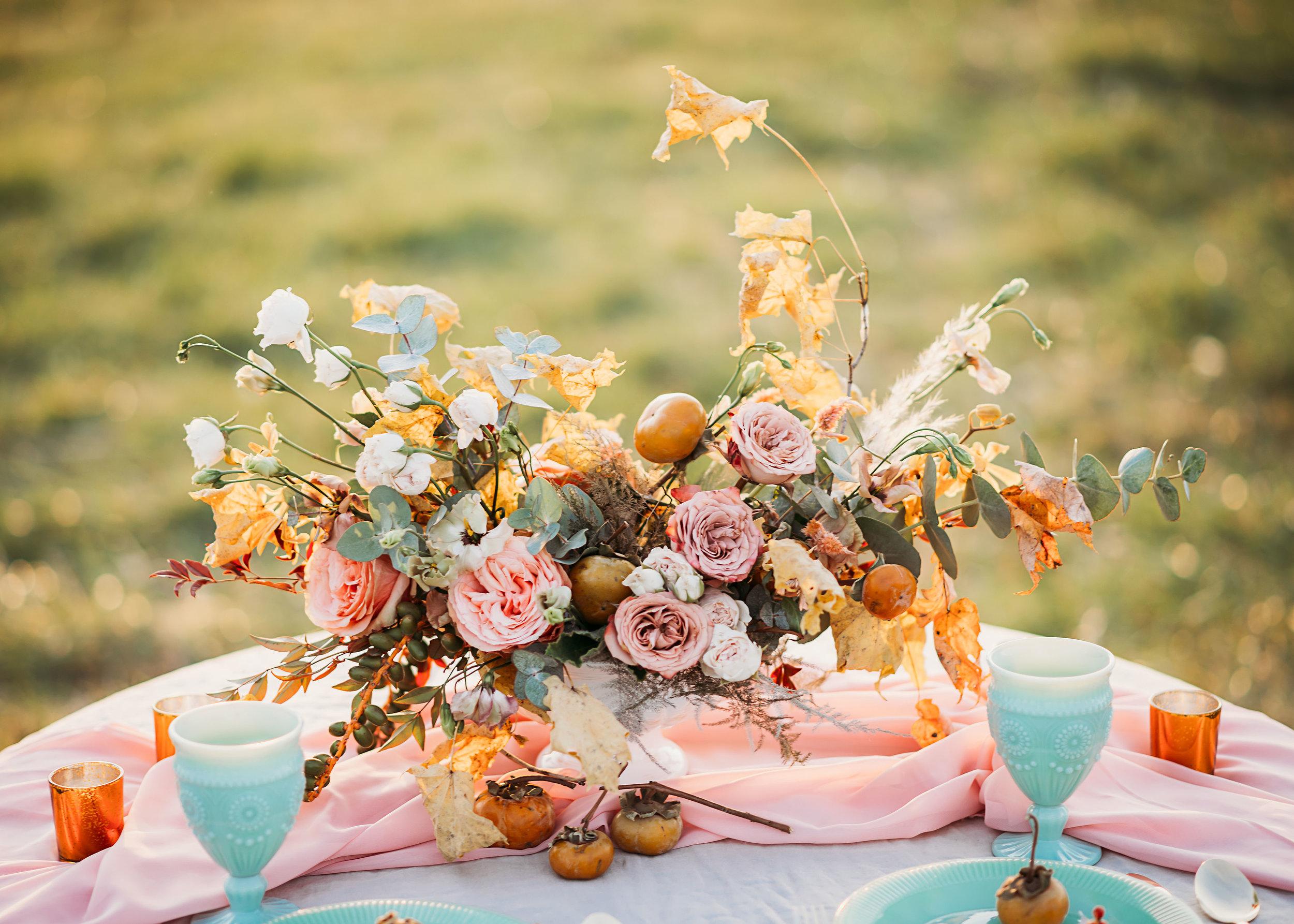 dusty pink and mustard jadeite wedding