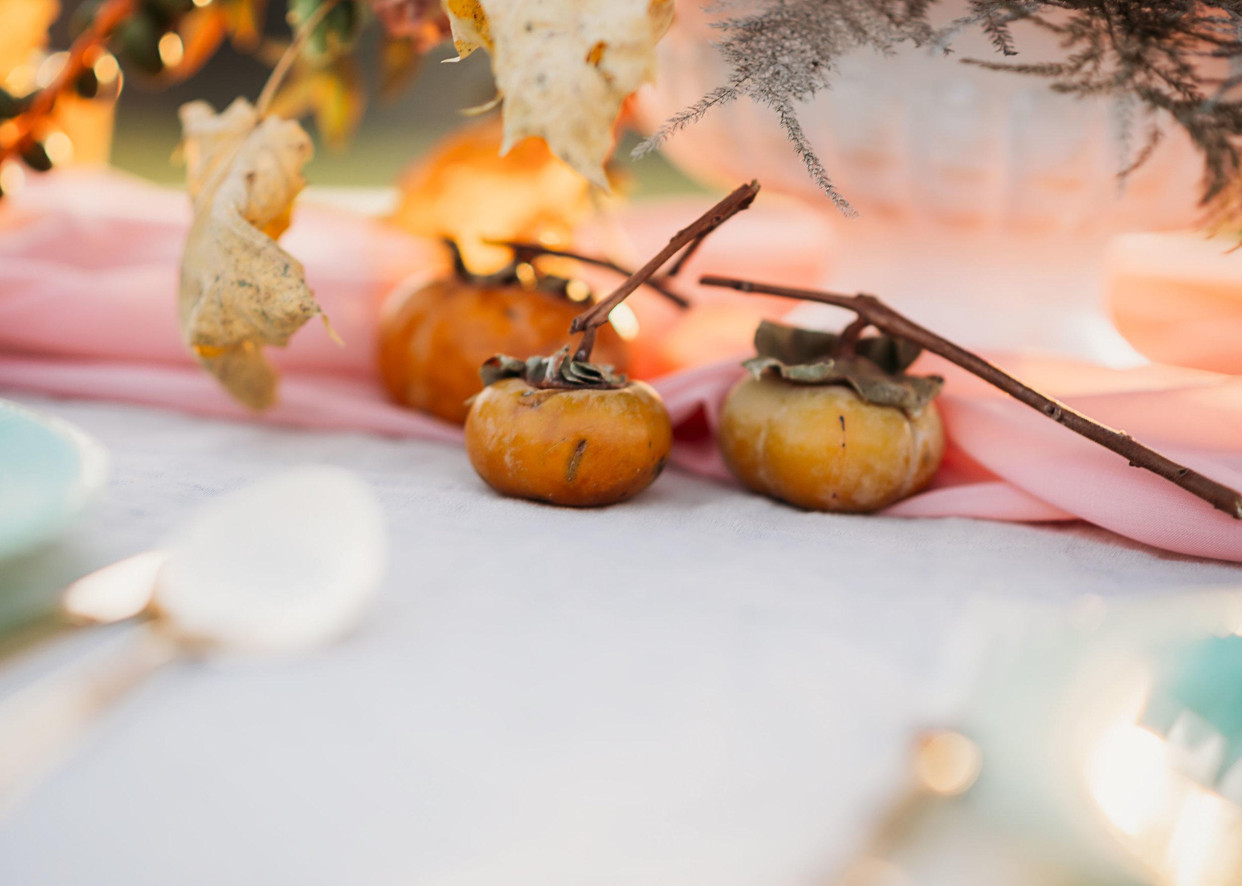 persimmon flower arrangement