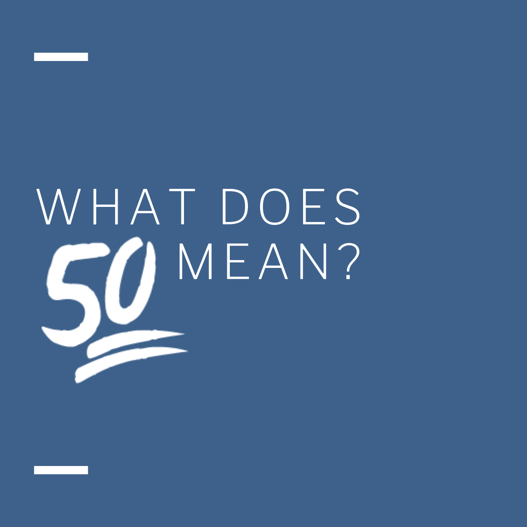 - It's That 50. It's The Middle Before Going To 0-100. Where You Get To Decide What You Want To Do. It's Thinking Before You React. Not Letting Your Emotions Get The Best Of You. Practicing That And Making It A Skill That You Could Practice Throughout Life.50 Is a tool to remind us to pause. Take a breath. Tune into your body. Inhale. Exhale. Count Up To 5. Count Down To 1. Pause. Repeat. You've just practiced 50 Seconds Of Mindfulness. Use 50 As A Tool For Yourself And To Share.