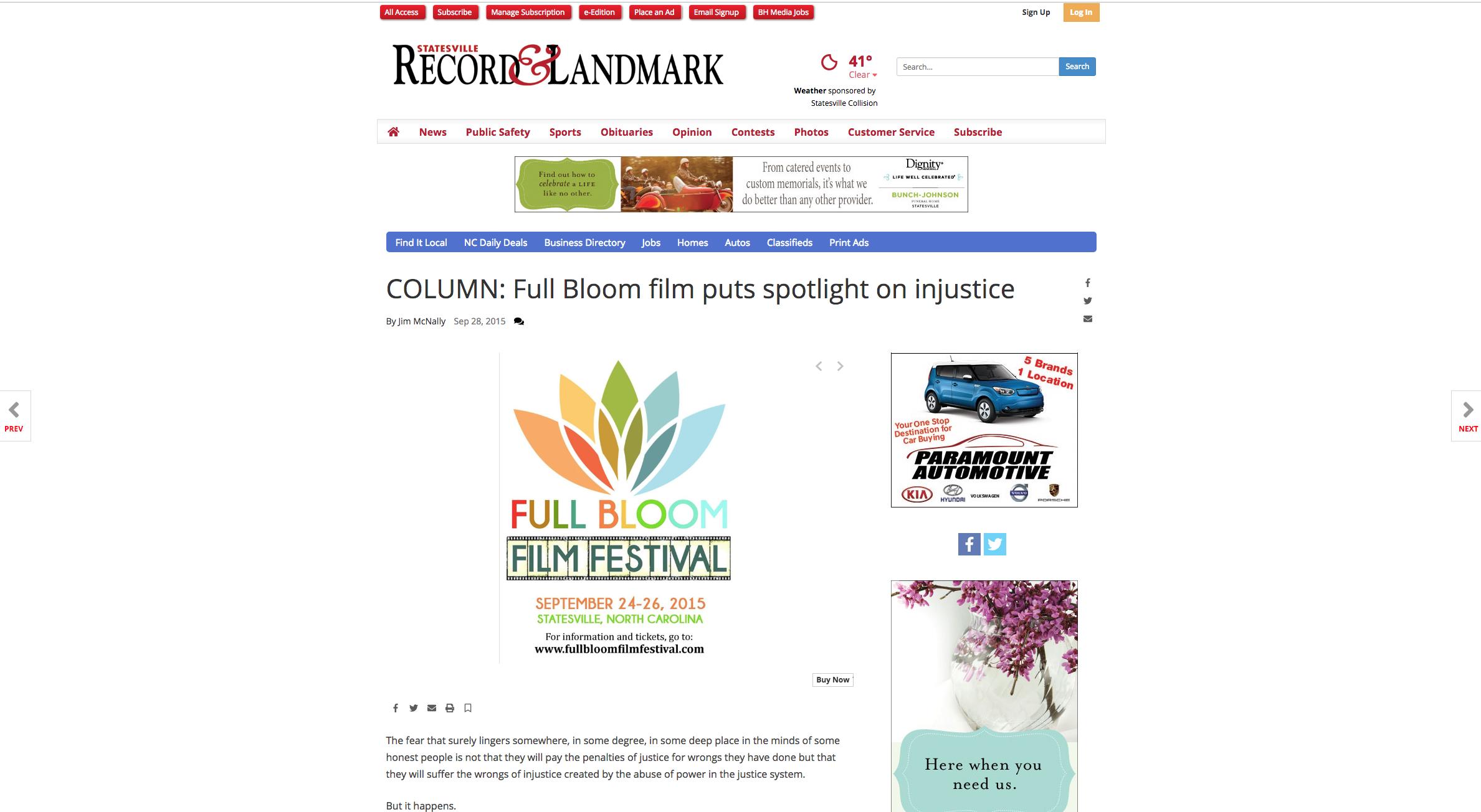 STATESVILLE RECORD & LANDMARK - Full Bloom film puts spotlight on injustice. SEPTEMBER 29TH, 2015