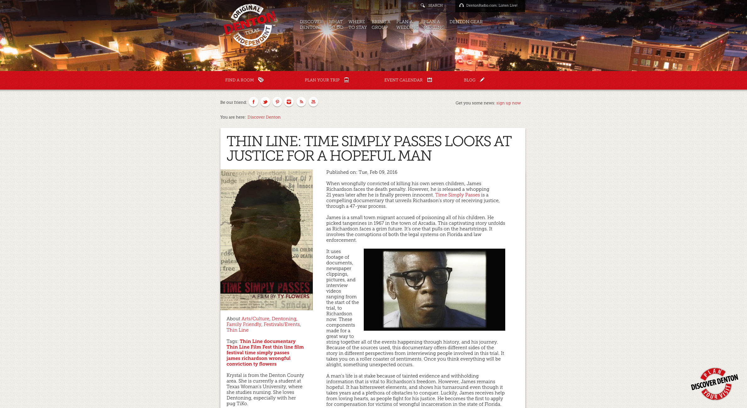 DISCOVER DENTON: Thin Line - TIME SIMPLY PASSES looks at justice for a hopeful man. February 17th, 2016.