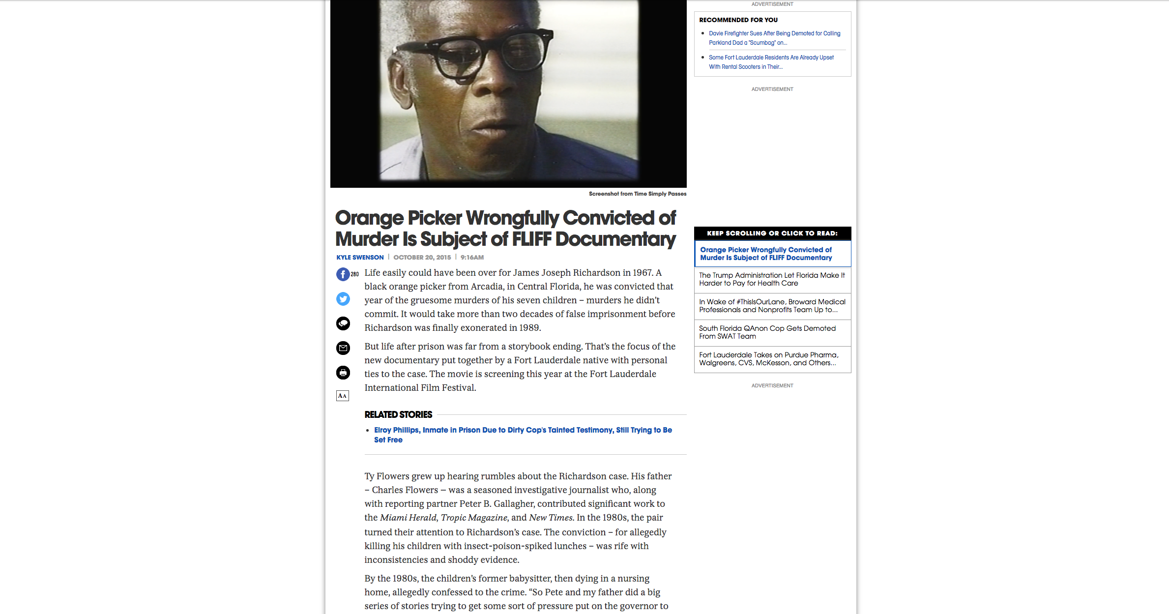 NEW TIMES: Orange Picker Wrongfully convicted of murder is subject of FLIFF documentary.  Tuesday, October 20th, 2015.