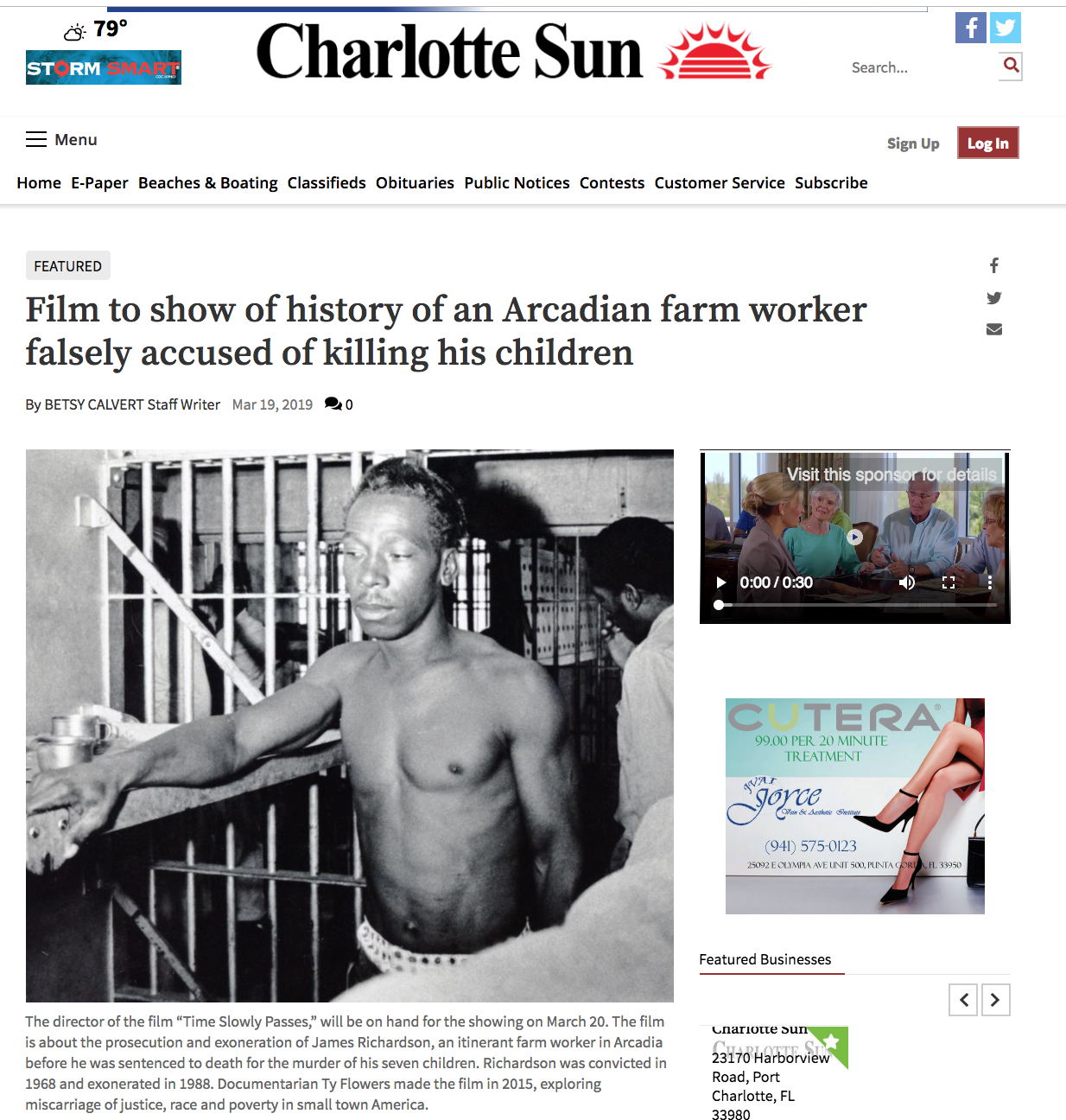 Film to show of history of an Arcadian farm worker falsely accused of killing his children