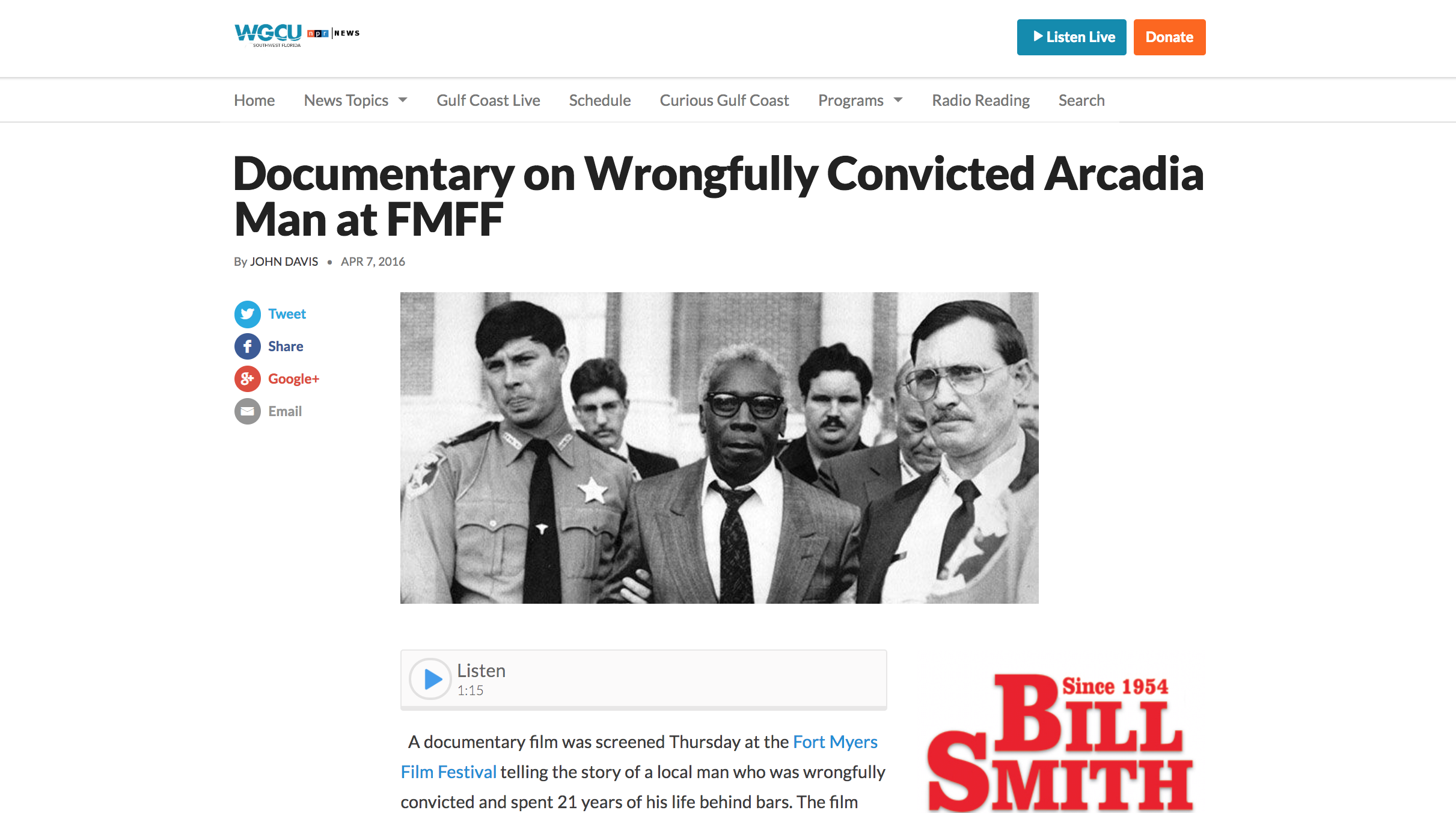 WGCU: Documentary on Wrongfully Convicted Arcadia Man at FMFF