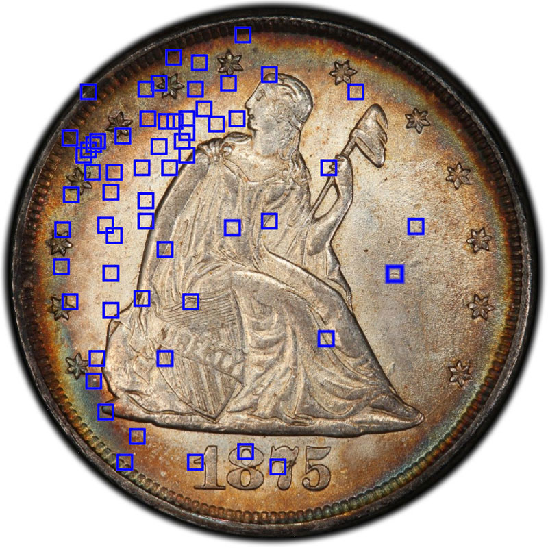 """PCGS Gold Shield highlights questionable """"keypoints"""" harvested from their vast proprietary imaging database."""