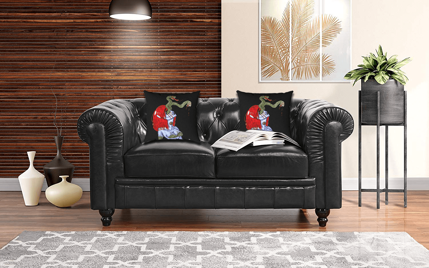 Scales Accent Pillow  by Ayanna Ali paired with  Black Divano Roma Classic Scroll Arm Real Leather Match Chesterfield Love Seat