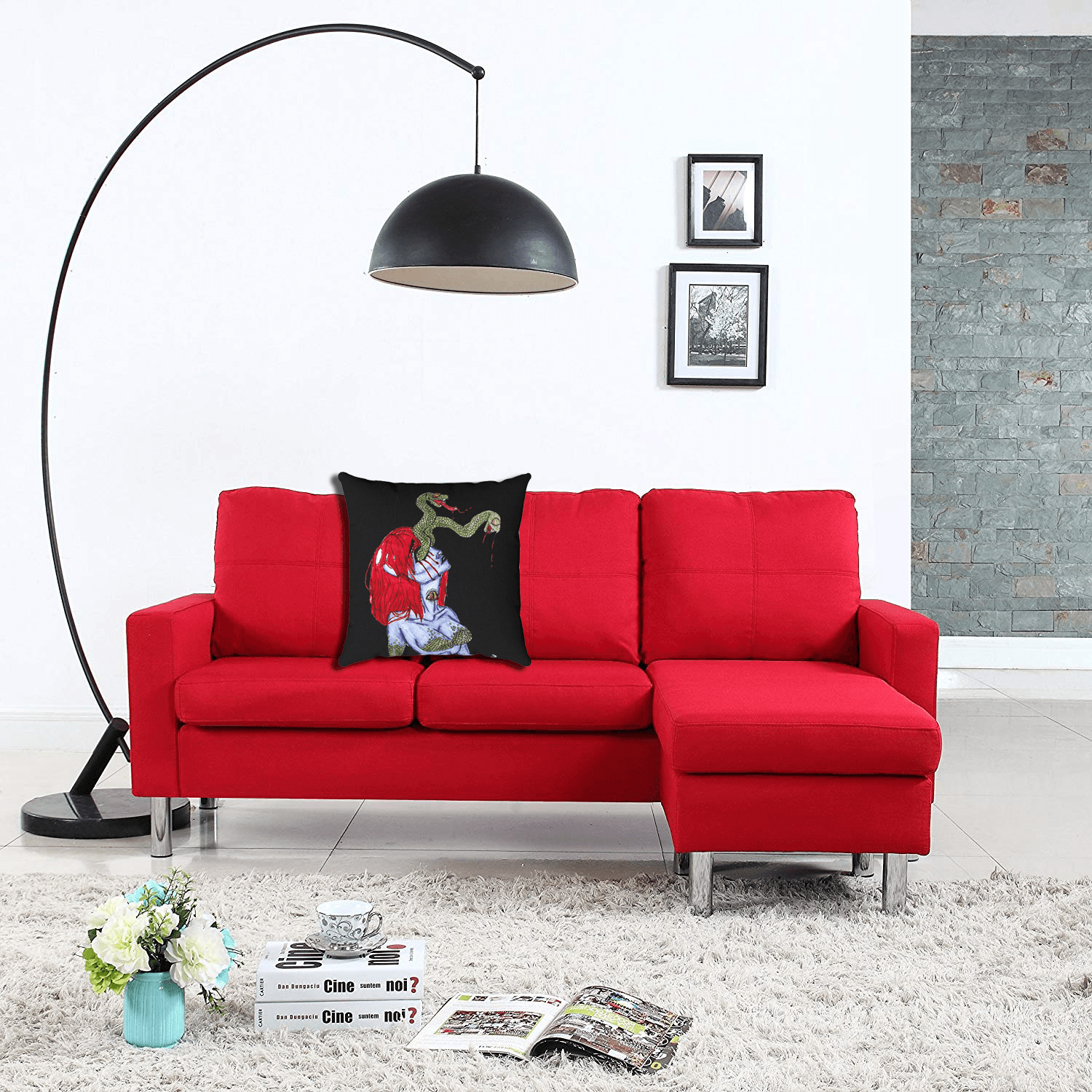 Scales Accent Pillows  by Ayanna Ali paired with  Red Modern Small Space Reversible Linen Fabric Sectional Sofa