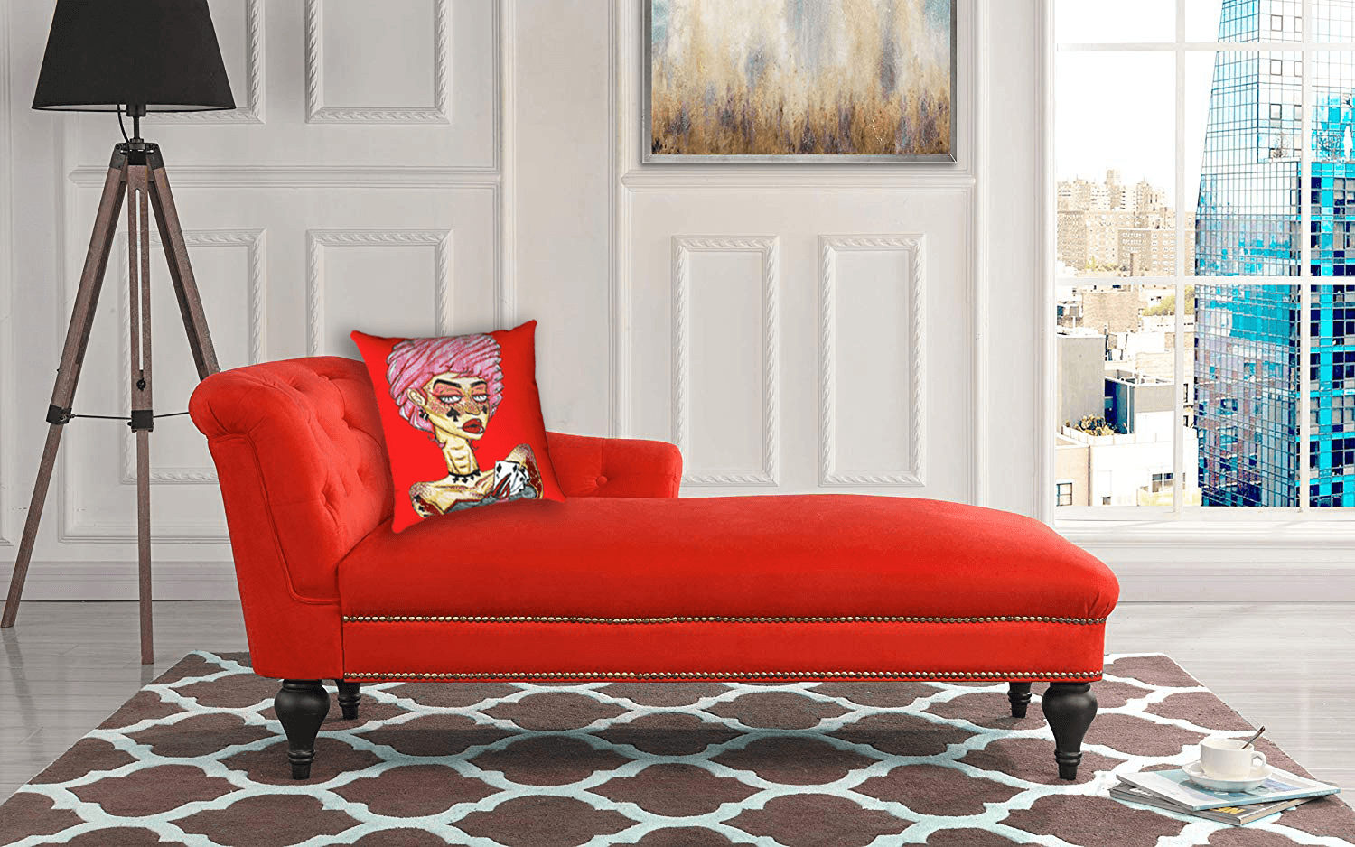 """Cards"" accent pillow by Ayanna Ali with  Casa Andrea Milano Elegant Velvet Chaise Lounge for Living Room or Bedroom"