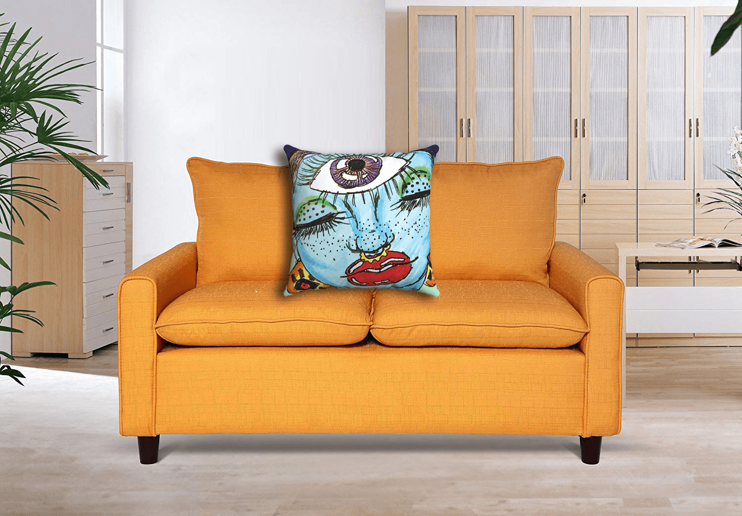 Third Eye Accent Pillow  by Ayanna Ali with  US Pride Furniture S5065 Fabric Modern Loveseat