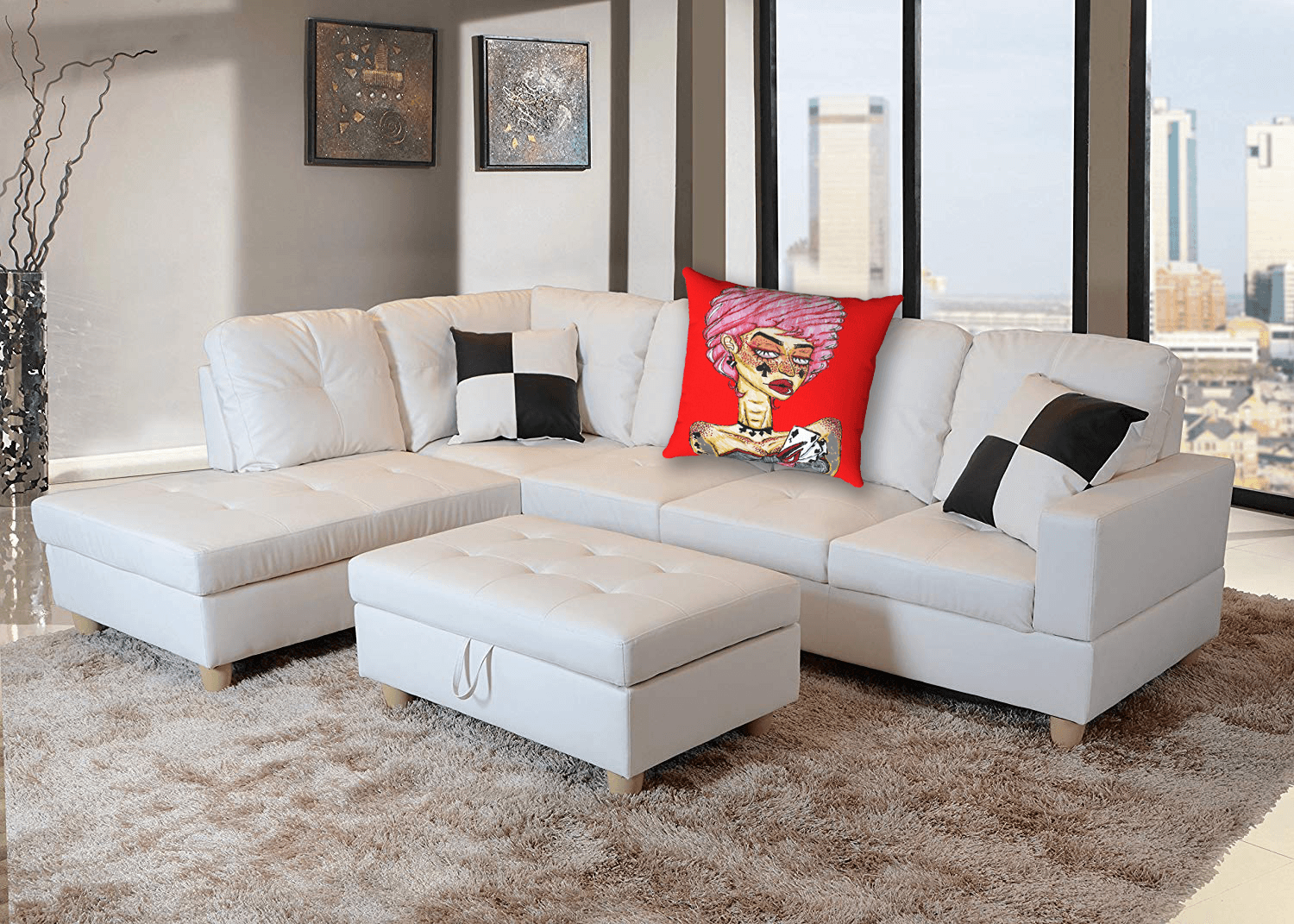Cards Accent Pillow  by Ayanna Ali with  Beverly Fine Furniture F092A Left Facing Russes Sectional Sofa Set Ottoman