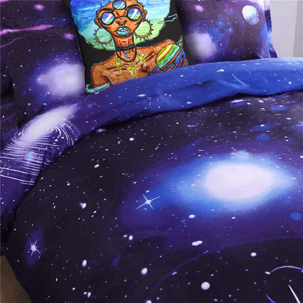 Solar Systar Accent Pillow  by Ayanna Ali with  Alicemall Blue Galaxy Bedding Set