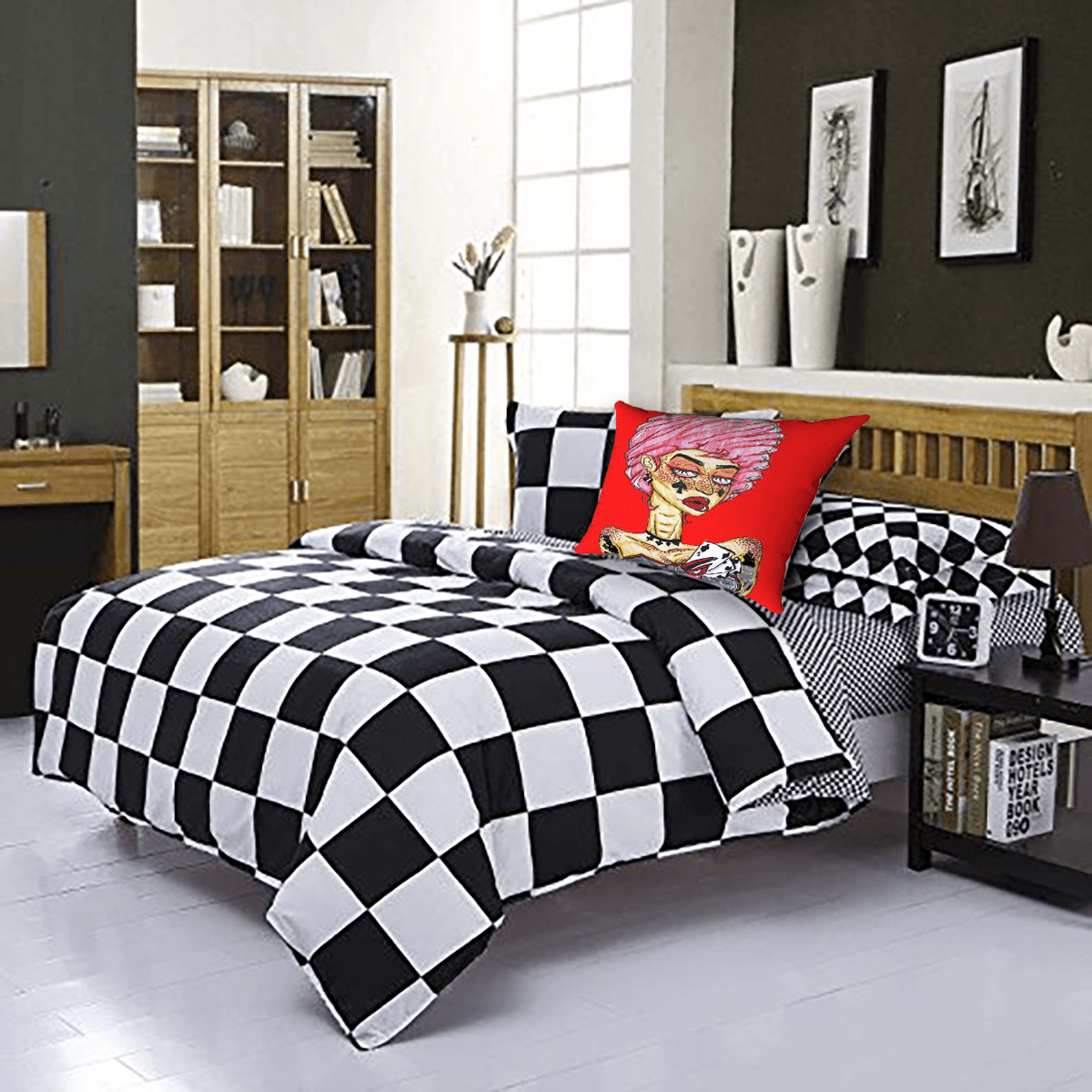 Cards Accent Pillow  by Ayanna Ali with  Home Secret Checkered Plaid Design 4PC Duvet Cover Set