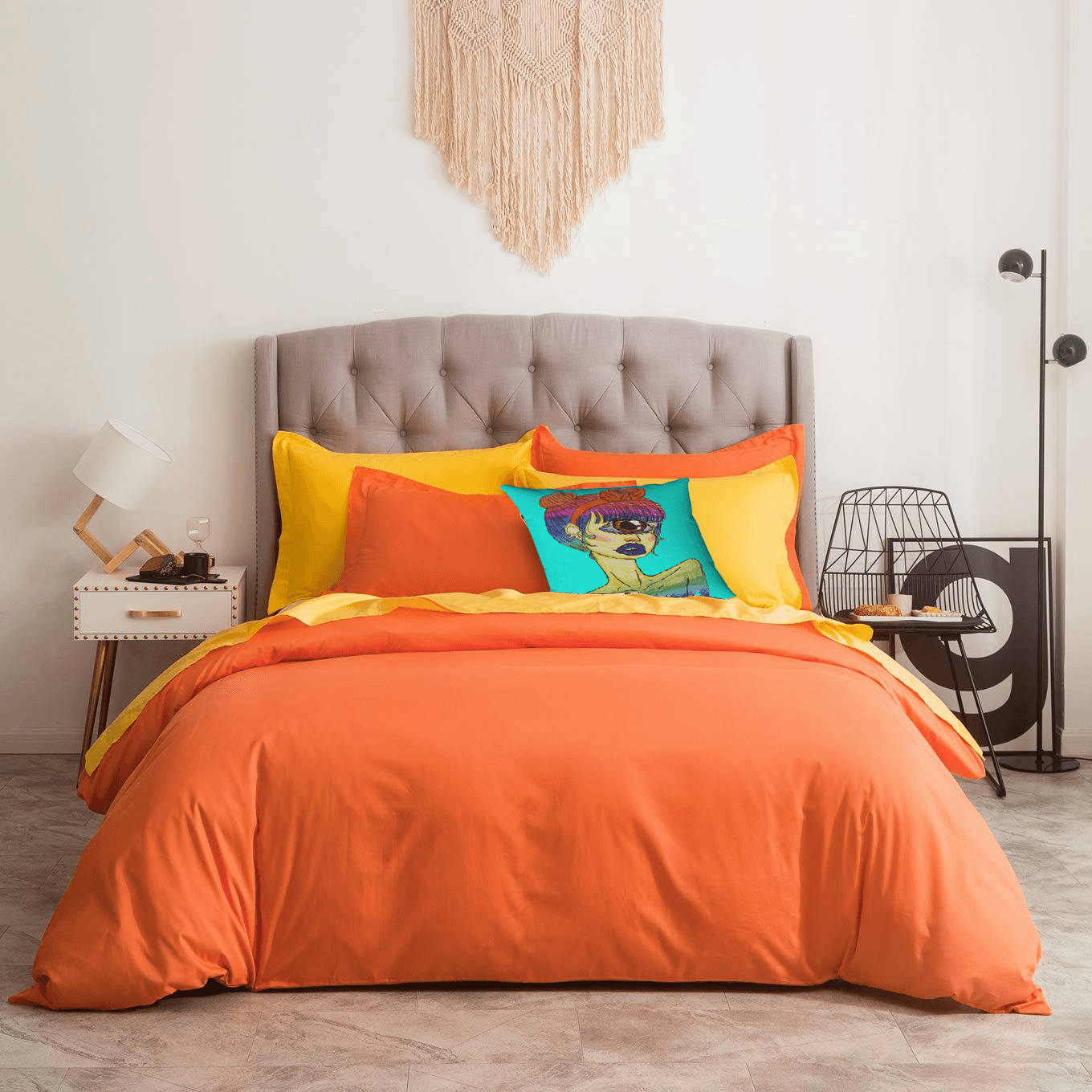 Cyclops Accent Pillow  by Ayanna Ali with  SUSYBAO 3 Pieces Duvet Cover Set 100% Natural Cotton