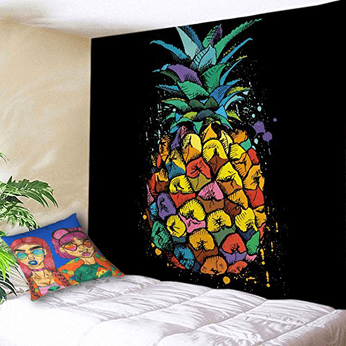 Shades Accent Pillow  by Ayanna Ali with  YOUSA Colorful Pineapple Tapestry