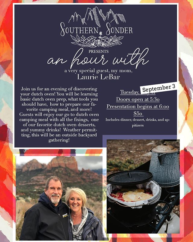 We have taken a little break this month to recoup, catch up on other work, and have some family time! We are excited to kick off September with our rescheduled An Hour With, featuring my amazing Mom, and her sweet Dutch Oven Skills! We were sold out originally, but have a few tickets available because of having to reschedule! We will be updating the link in our bio this week, so be ready to purchase your ticket! If you know for sure you want in, you can DM us with your email address, and how many tickets you would like!🙌🏻