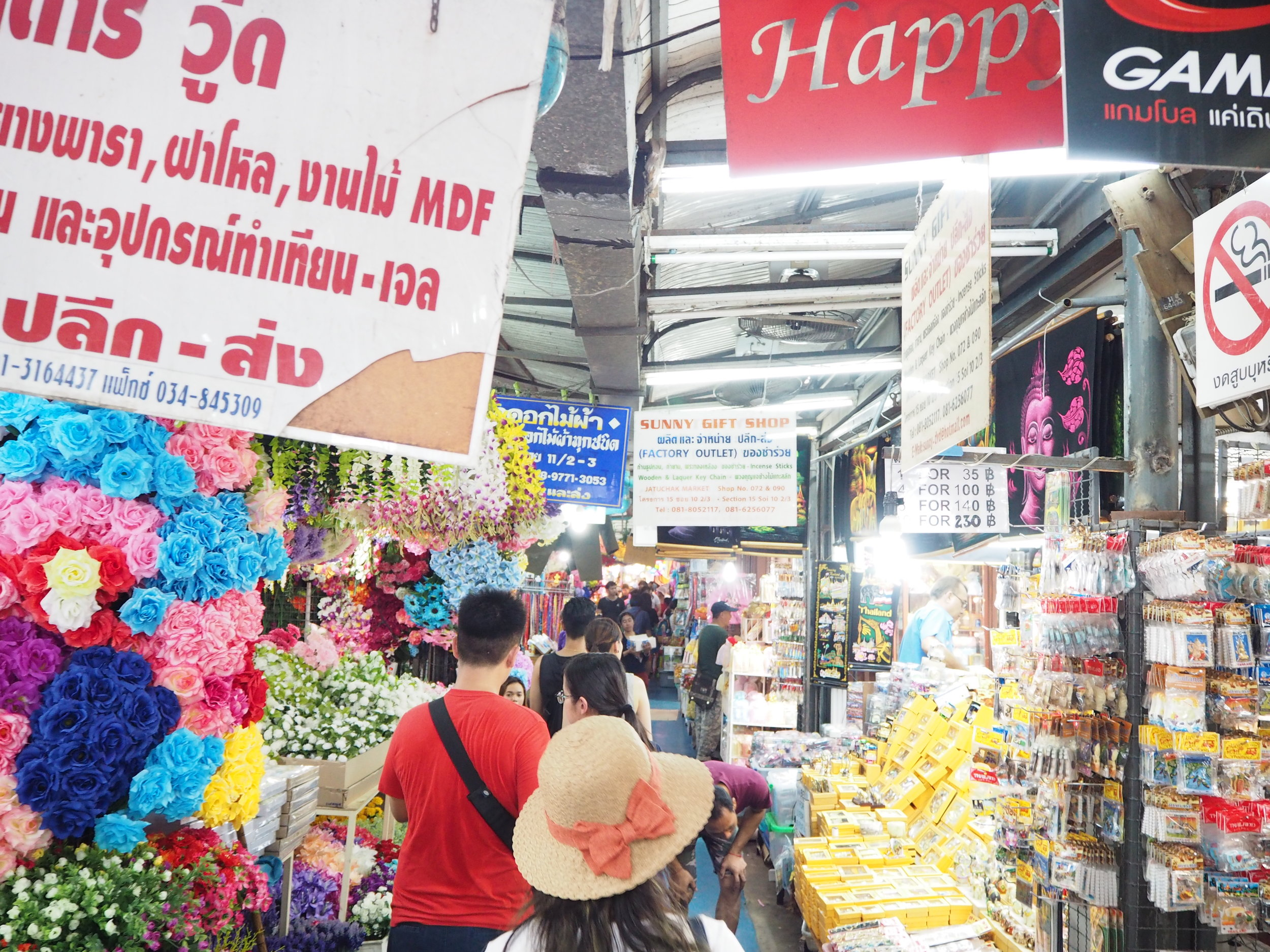 Navigating the famous Chatuchak market in Bangkok - this is the world's largest weekend market with over 15,000 stalls and receives 200,000 visitors each weekend!