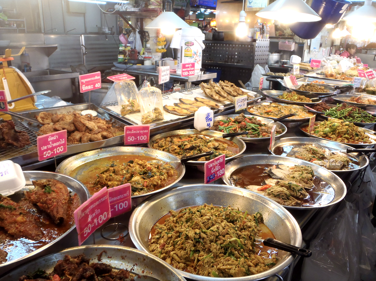 Thai 'street food' on the side of a busy road in Bangkok
