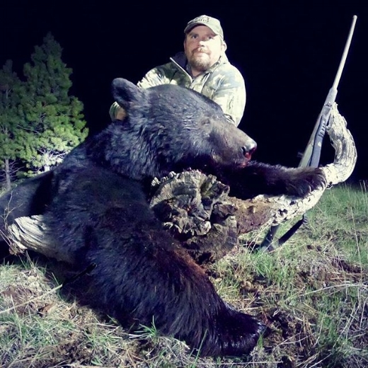 SPRING BEAR - We want to congratulate Kyle N. on his tremendous boar black bear he harvested this spring. This is Kyle's 13th bear hunt and he connected in a big way. We utilized game cameras to locate this bear and understand some of his patterns, and after a week of us being in the wrong place at the wrong time the table turned and after stalking within 80 yards, Kyle made a flawless shot with his Cooper 300 win mag, and the bear's story was written.