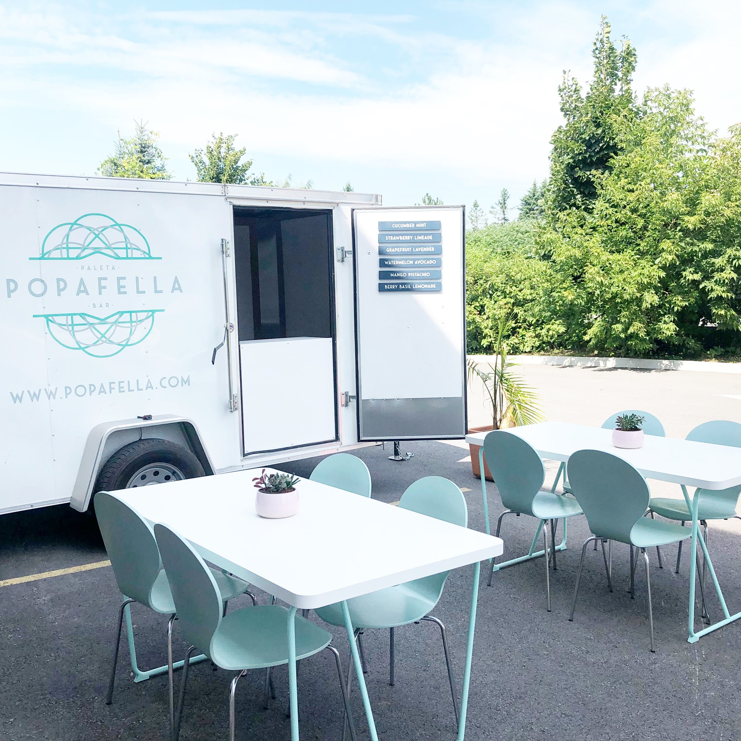 Our catering comes with Paleta trailer, tables, chairs and one server
