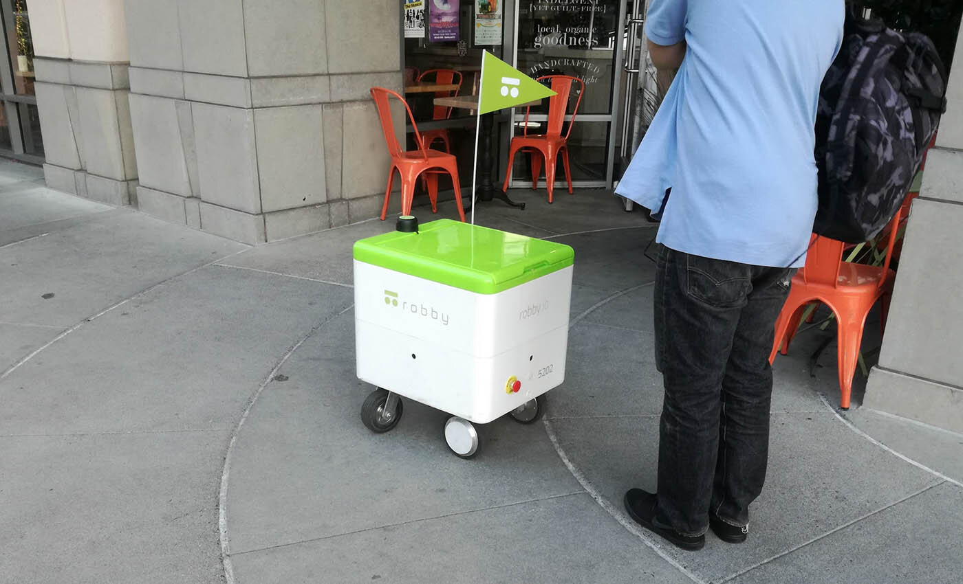 A delivery robot photographed in Palo Alto, near Institute for the Future